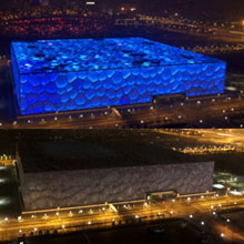 """北京:国家游泳中心""""水立方""""熄灯前后"""