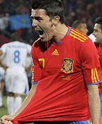 比利亚进球后疯狂庆祝