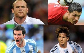 鲁尼,C罗,梅西,,伊瓜因,南非世界杯