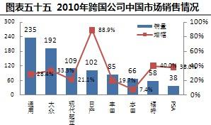 2010年跨国公司中国市场销售情况