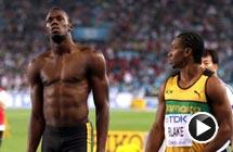 百米决赛博尔特抢跑被罚下 牙买加新锐夺冠