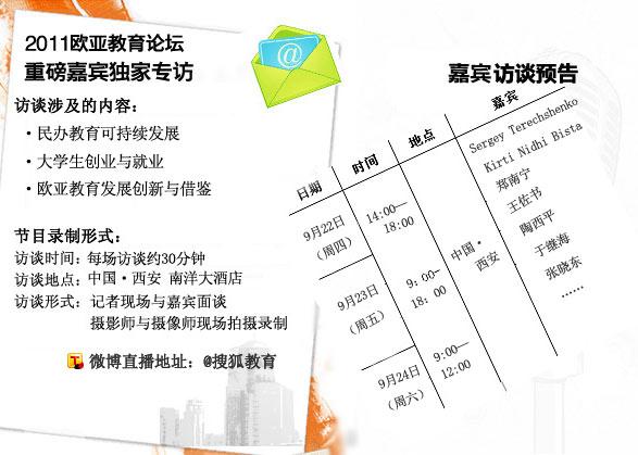 2011欧亚教育论坛 搜狐独家专访重磅嘉宾 博鳌教育论坛 教育高峰论坛