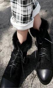 复古鹿皮绒面毛毛短靴