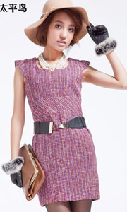 中腰淑女无袖通勤铅笔裙
