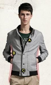 GXG时尚休闲修身格纹夹克