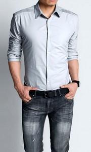 纯棉商务韩版修身长袖衬衣