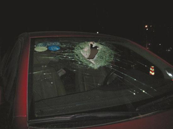 挡风玻璃被砸了个洞