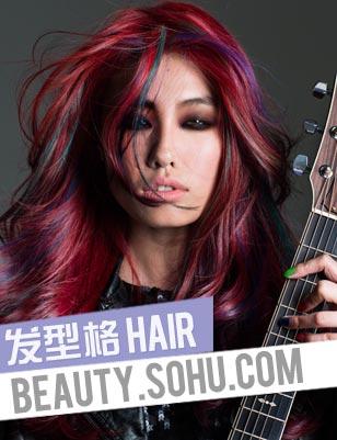 女生挑染紫色头发图片下载