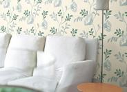 选用枝叶壁纸铺贴