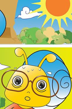初升的太阳缓缓升起,金色的光芒瞬间铺满打底,蜗牛仍在努力爬行,身心