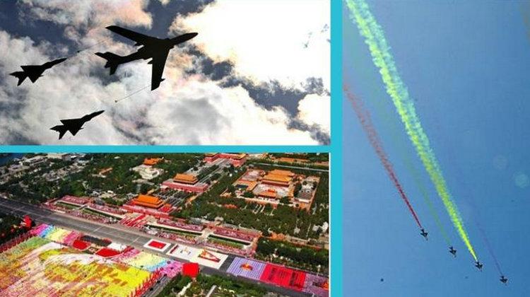 新中国历次阅兵中的空军方队大盘点。2009年国庆阅兵时:12个空中梯队共151架飞机受阅,机型包括:空警200预警机、歼11战机、轰-6H飞机、轰油-6加油机、歼8F飞机、歼10飞机、直8直升机、直9侦查直升机等机型。
