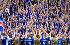 冰岛球员与球迷庆祝