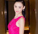 张柏芝穿玫红长裙光彩照人