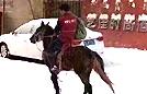 内蒙快递哥雪天骑马送货