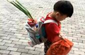 男孩背大葱上幼儿园