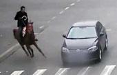 男子骑马狂奔闯灯被撞飞
