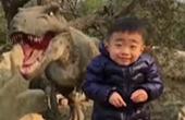 与恐龙合影的小男孩 强颜欢笑