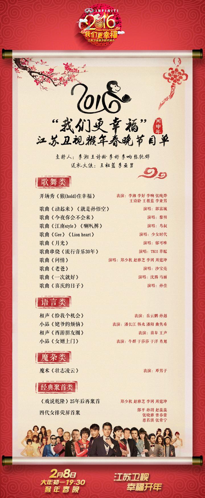 江蘇猴年春晚節目單曝光 三大亮點全揭秘圖片