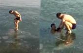 男子冰下潜泳错过冰面出口